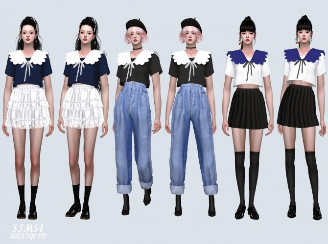 Sims 4 Scallop Collar Blouse With Bow (P) at Marigold