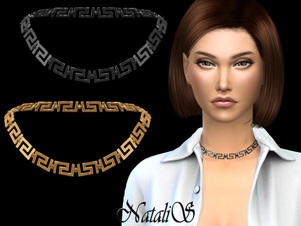 Sims 4 Greek motif short necklace by NataliS at TSR