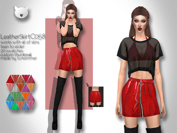 Leather Skirt C058 by turksimmer at TSR image 547 Sims 4 Updates