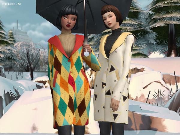 Sims 4 Woolen Coat F by ChloeMMM at TSR