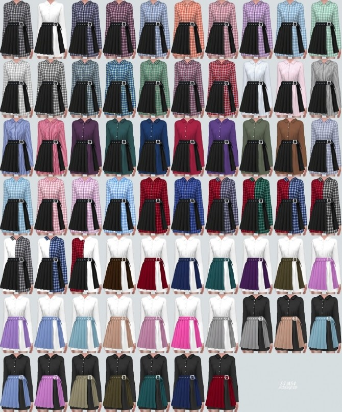 Sims 4 Shirts With Pleats Skirt (P) at Marigold