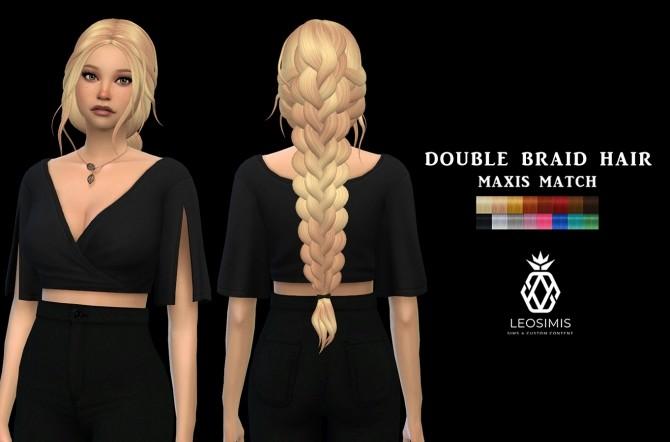 Sims 4 Double Braid Hair (P) at Leo Sims