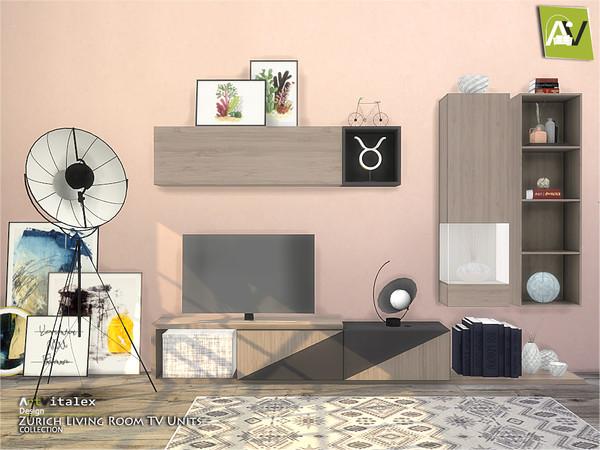Sims 4 Zurich Living Room TV Units by ArtVitalex at TSR