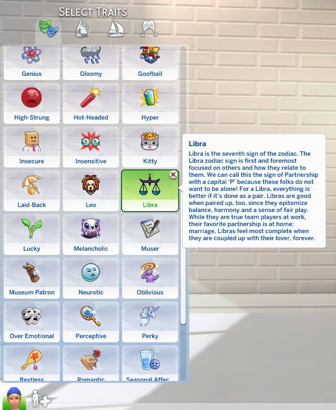 Sims 4 Libra Custom Trait by StormyWarrior8 at Mod The Sims