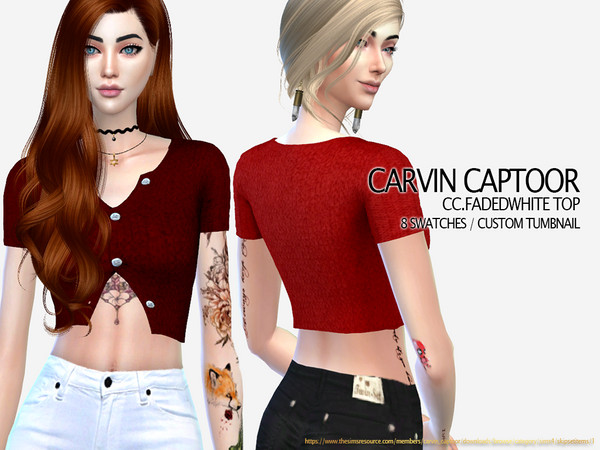 Sims 4 FADEDWHITE TOP by carvin captoor at TSR