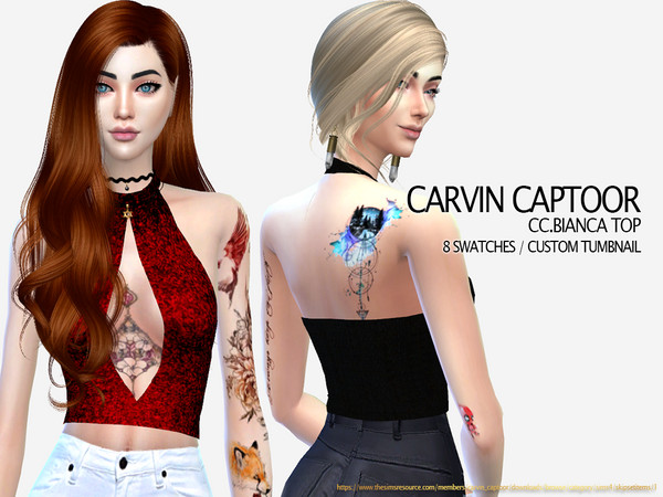 Sims 4 Bianca Top by carvin captoor at TSR