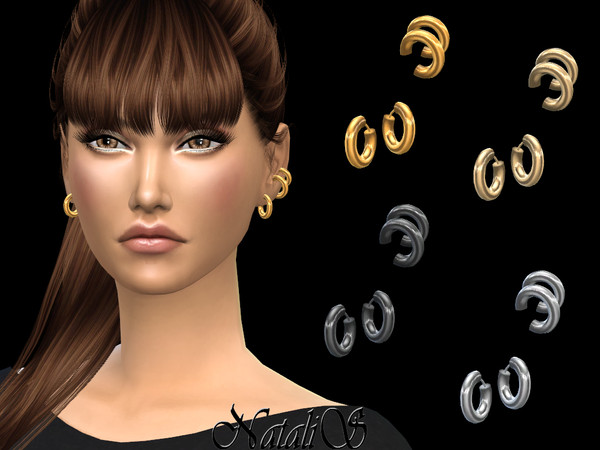 Sims 4 Ear cuff with hoop earrings by NataliS at TSR