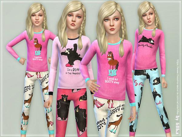 Sims 4 Pink Animal Pajama for Girls by lillka at TSR