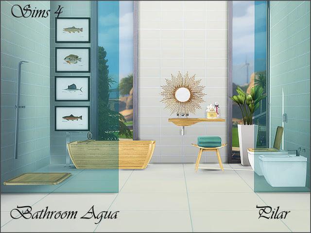Aqua bathroom by Pilar at SimControl image 695 Sims 4 Updates