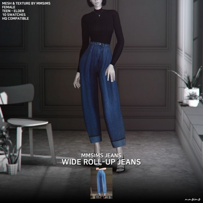 Wide roll up jeans AF at MMSIMS image 702 670x670 Sims 4 Updates