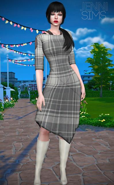 Sims 4 Asymmetrical Dress 19 designs at Jenni Sims