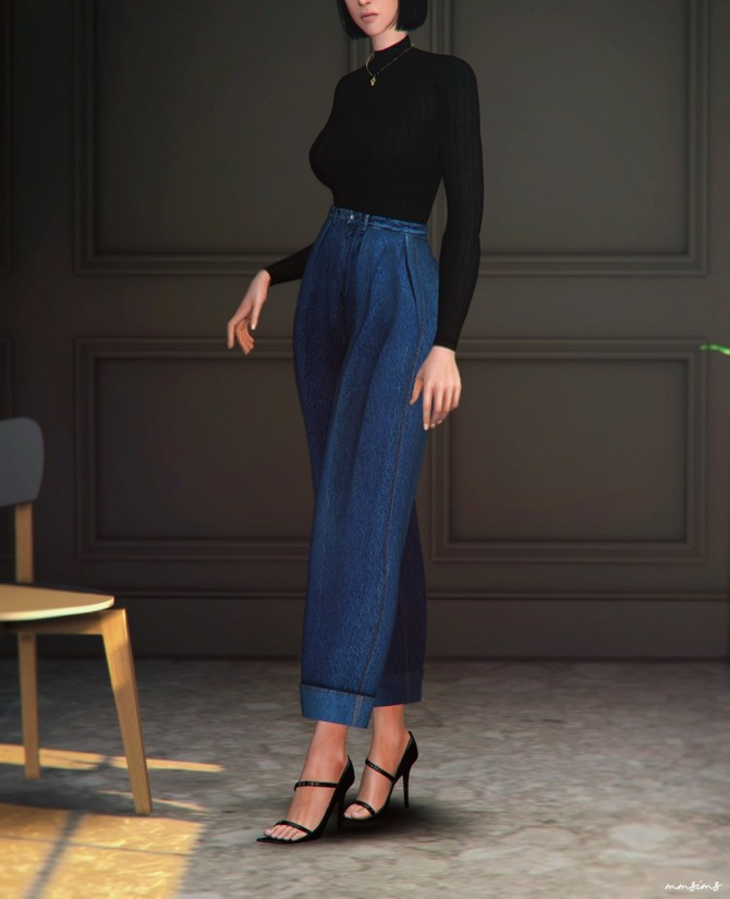 Wide roll up jeans AF at MMSIMS image 713 670x825 Sims 4 Updates