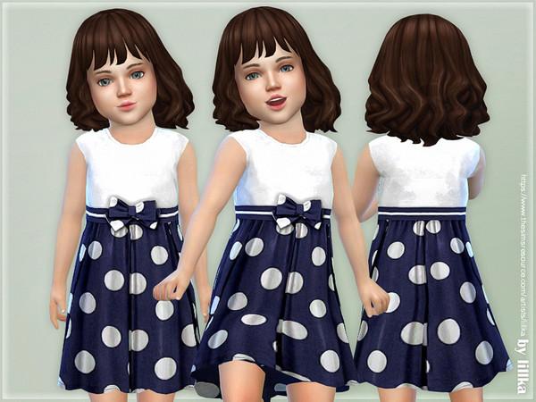 Sims 4 Polka Dot Summer Dress by lillka at TSR