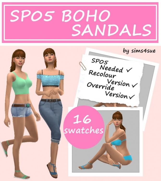 Sims 4 SP05 BOHO SANDALS at Sims4Sue