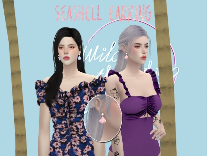 Sims 4 SEASHELL EARRINGS at MINZZA