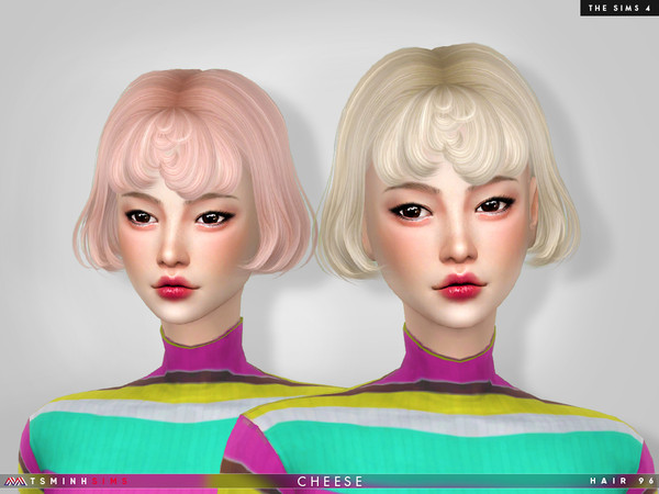 Cheese Hair 96 by TsminhSims at TSR image 8014 Sims 4 Updates