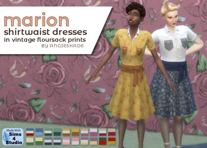 Vintage shirtwaist dresses at AngieShade – Intermittent simblr image 804 670x479 Sims 4 Updates