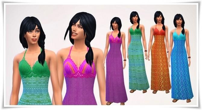Sims 4 Beach Crocket Long Dress at Birksche's SimModels