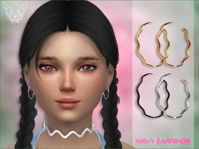 Sims 4 Wavy Hoop Earrings For Kids at Giulietta