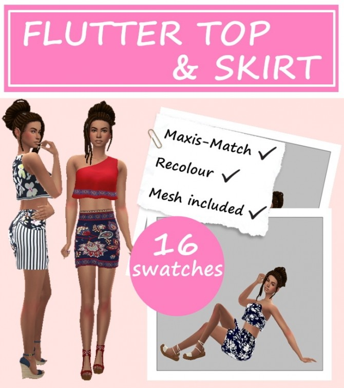 Sims 4 FLUTTER TOP & SKIRT at Sims4Sue