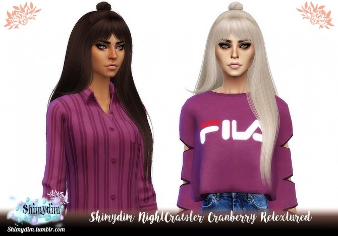 Sims 4 NightCrawler Cranberry Hair Retexture Naturals + Unnaturals at Shimydim Sims