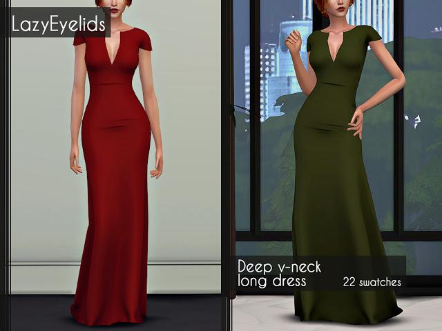 Sims 4 Deep v neck dress at LazyEyelids