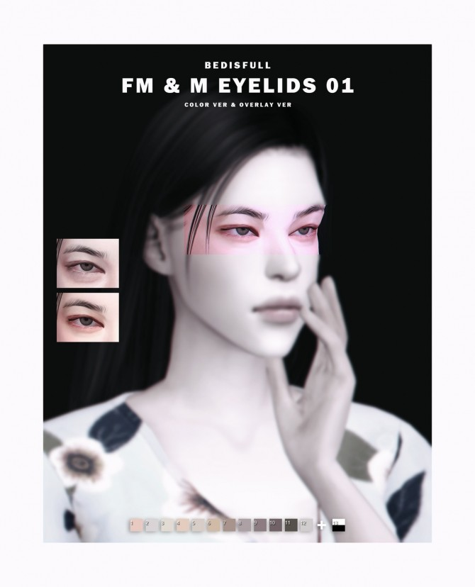 Sims 4 FM & M eyelids 01 at Bedisfull – iridescent