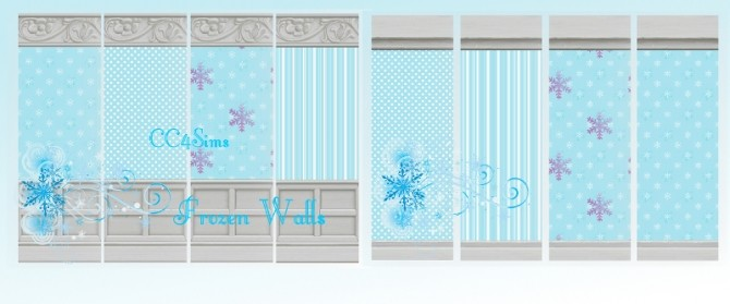 Sims 4 Frozen walls and carpets by Christine at CC4Sims