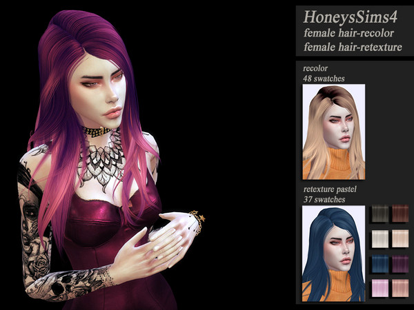 Sims 4 HoneysSims4 female hair retexture Wings ON0726 by Jenn Honeydew Hum at TSR