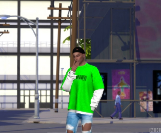 Sims 4 Neon color Layered MTM M top at MINI SIMS