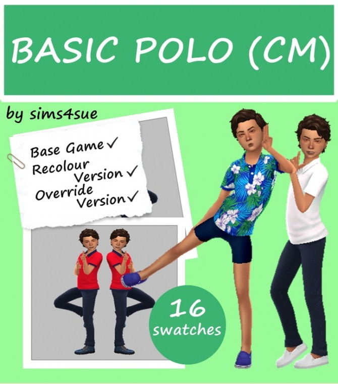 Sims 4 BASE GAME BASIC POLO (CM) at Sims4Sue