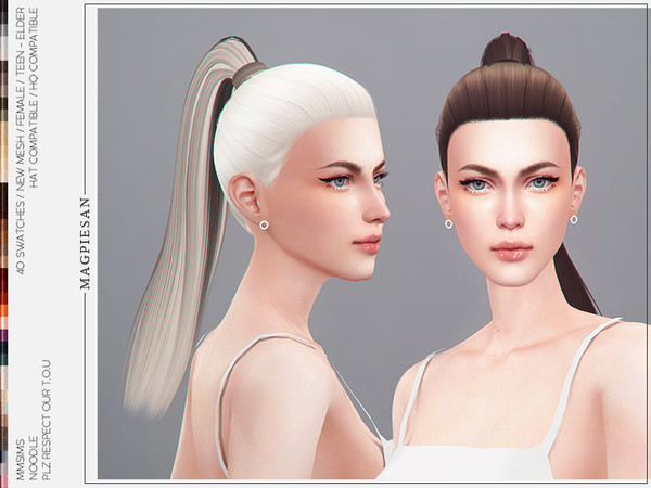 Sims 4 Noodle Hair by magpiesan at TSR