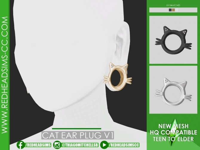 CAT EAR PLUG by Thiago Mitchell at REDHEADSIMS image 1151 670x503 Sims 4 Updates
