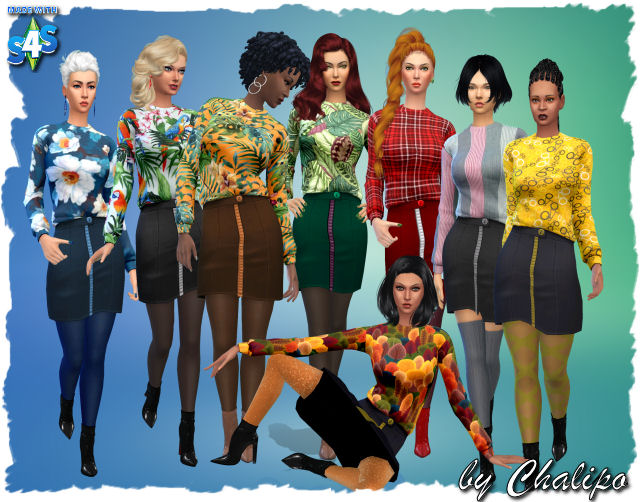 Skirt blouse combination by Chalipo at All 4 Sims image 1152 Sims 4 Updates