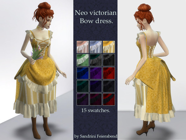 Sims 4 Neo victorian bow dress by Sandrini Feierabend at TSR
