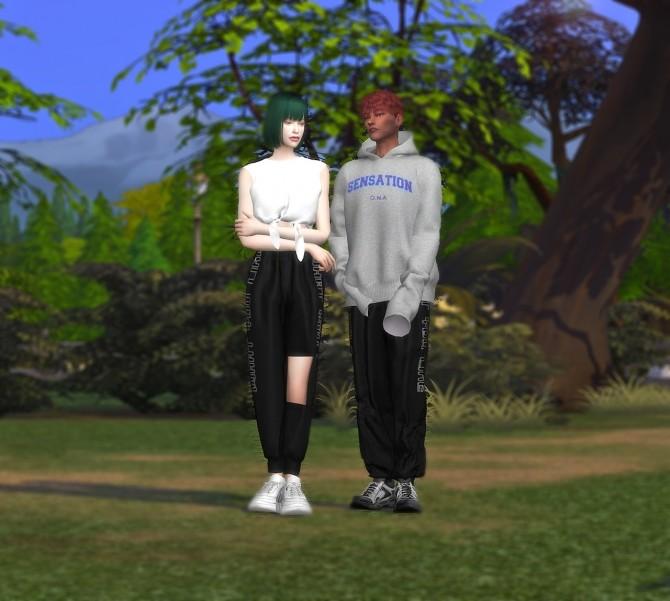 Sims 4 Satin Jogger Pants M&FM bottom at MINI SIMS