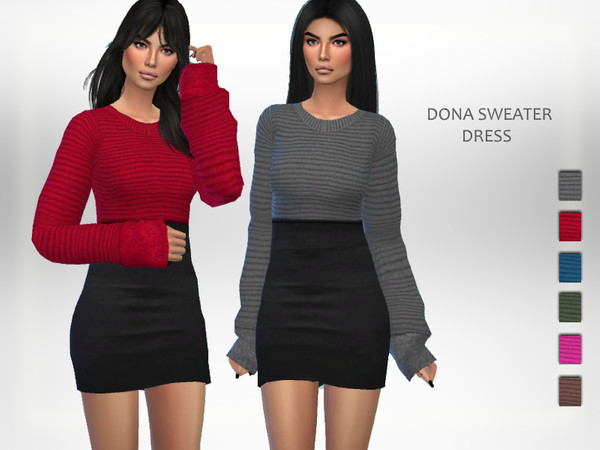 Sims 4 Dona Sweater Dress by Puresim at TSR