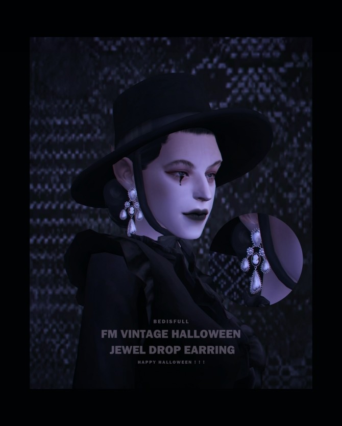 Vintage halloween jewel drop earring at Bedisfull – iridescent image 13118 670x834 Sims 4 Updates