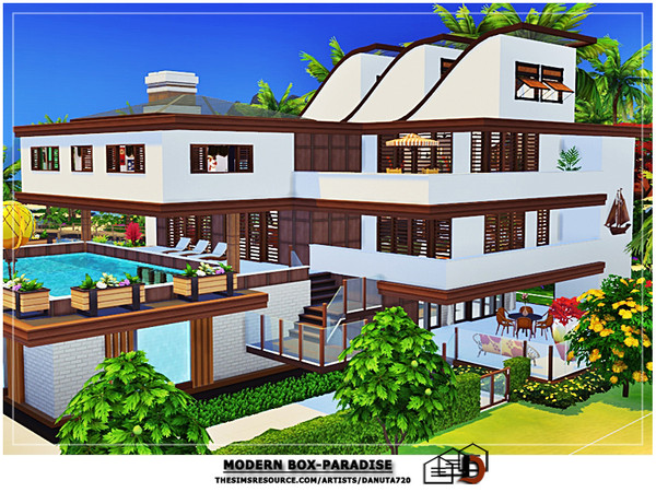Sims 4 Modern box Paradise house by Danuta720 at TSR