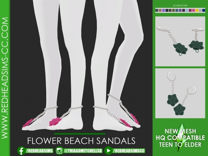 FLOWER BEACH SANDALS at REDHEADSIMS image 14112 670x503 Sims 4 Updates