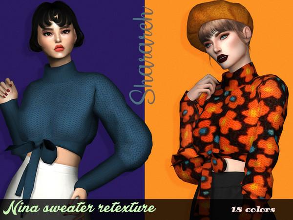 Sims 4 Nina Sweater Retextured by Sharareh at TSR