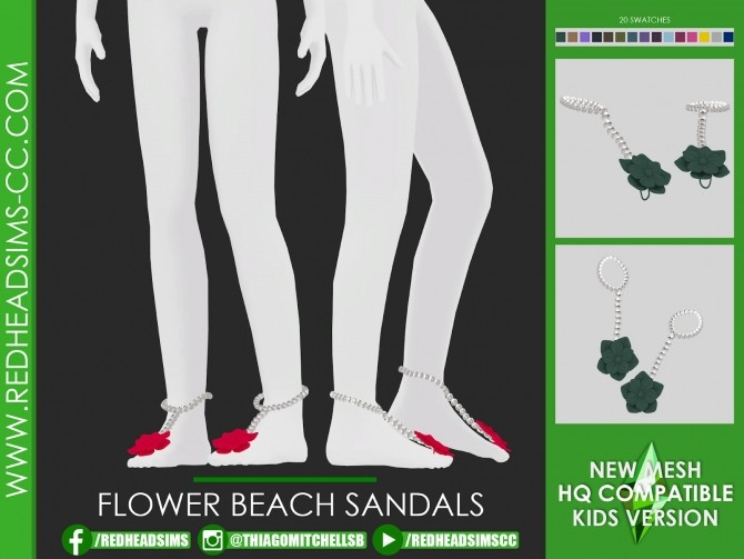 FLOWER BEACH SANDALS at REDHEADSIMS image 1429 670x503 Sims 4 Updates