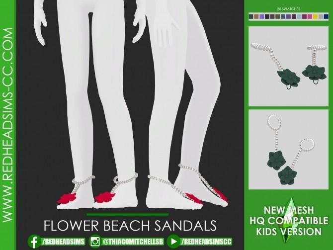 Sims 4 FLOWER BEACH SANDALS at REDHEADSIMS