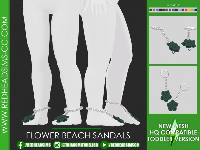 FLOWER BEACH SANDALS at REDHEADSIMS image 1435 670x503 Sims 4 Updates
