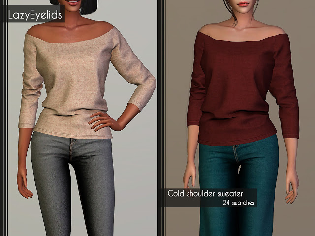Sims 4 Cold shoulder sweater at LazyEyelids