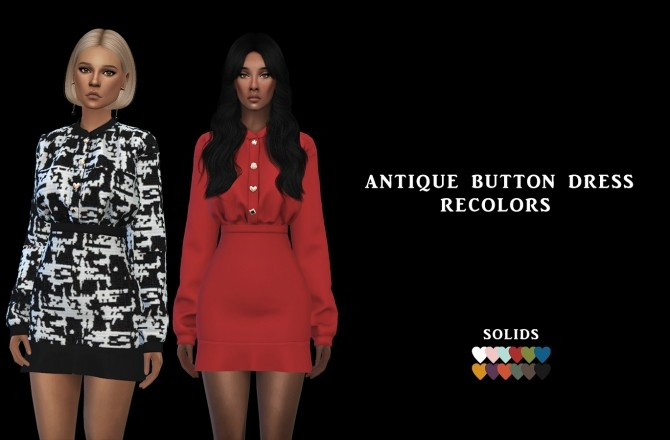 Sims 4 A. Button Dress at Leo Sims