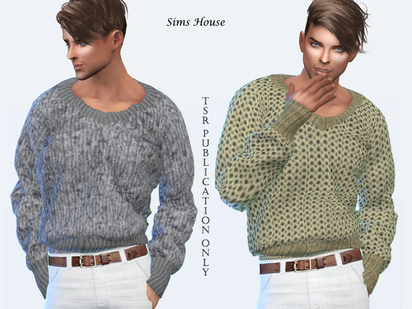 Mens Warm V neck Sweater 2 by Sims House at TSR image 1627 Sims 4 Updates