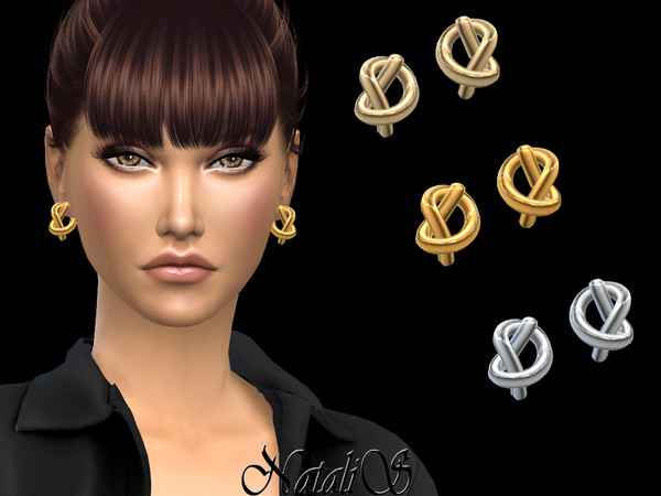 Knot stud earrings by NataliS at TSR image 1629 Sims 4 Updates