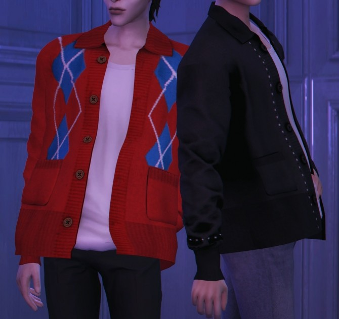 Sims 4 M Autumn cardigan at Bedisfull – iridescent