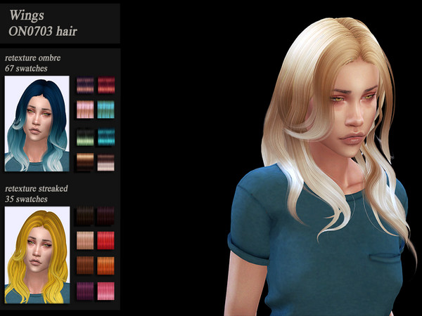 Sims 4 HoneysSims4 female hair recolor Wings ON0703 by Jenn Honeydew Hum at TSR